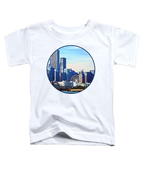 Chicago Il - Chicago Skyline And Navy Pier Toddler T-Shirt by Susan Savad
