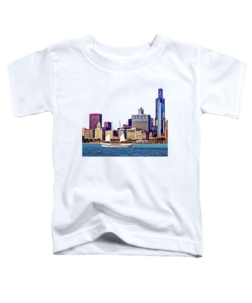 Chicago Il - Schooner Against Chicago Skyline Toddler T-Shirt by Susan Savad