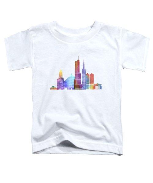 Chicago Landmarks Watercolor Poster Toddler T-Shirt