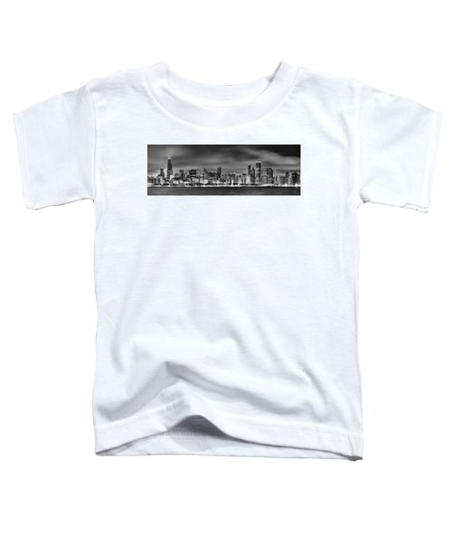 Chicago Skyline At Night Black And White Toddler T-Shirt