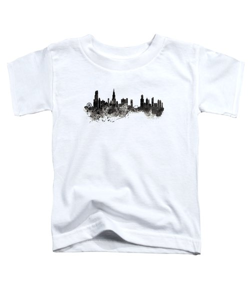 Chicago Skyline Black And White Toddler T-Shirt by Marian Voicu