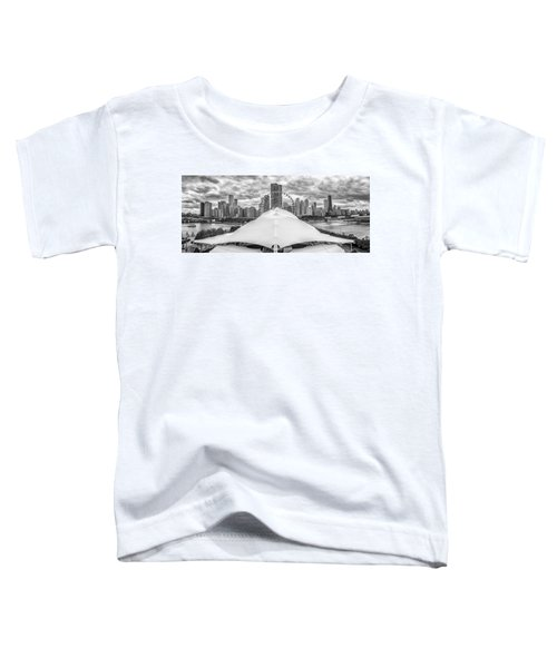 Toddler T-Shirt featuring the photograph Chicago Skyline From Navy Pier Black And White by Adam Romanowicz