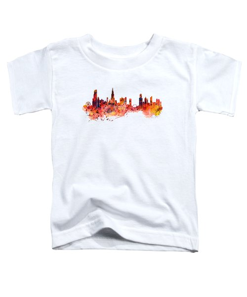 Chicago Watercolor Skyline Toddler T-Shirt