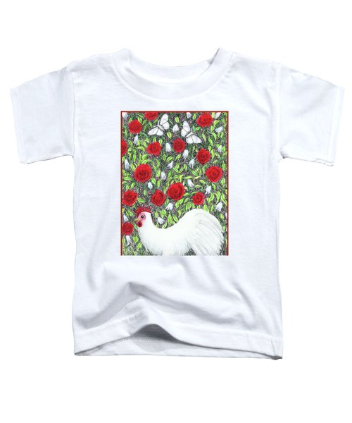 Chicken And Butterflies In The Flowers Toddler T-Shirt