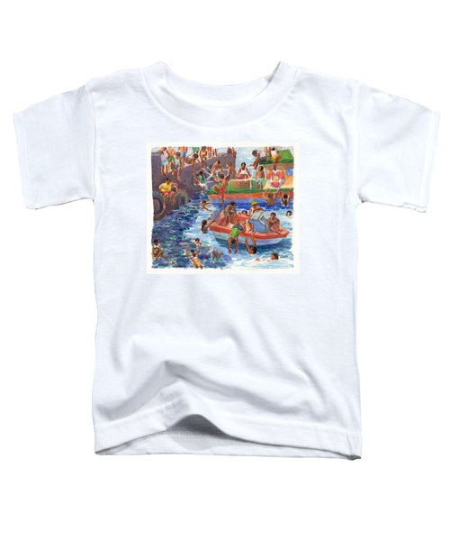 Toddler T-Shirt featuring the painting Children Playing At Avarua Wharf  by Judith Kunzle