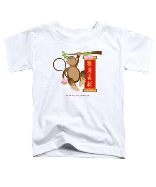 Chinese Year Of The Monkey With Peach And Banner Illustration Toddler T-Shirt
