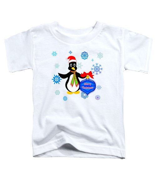 Christmas Penguin Toddler T-Shirt by Methune Hively