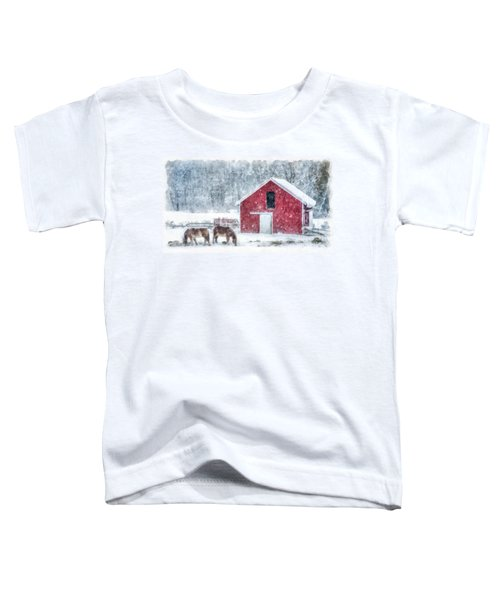 Christmas Snowstorm Vermont Watercolor Toddler T-Shirt