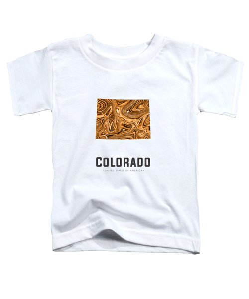 Colorado Map Art Abstract In Brown Toddler T-Shirt