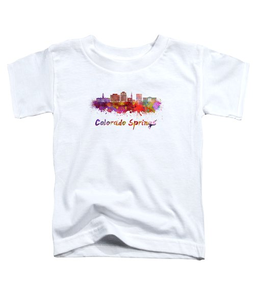 Colorado Springs V2 Skyline In Watercolor Toddler T-Shirt