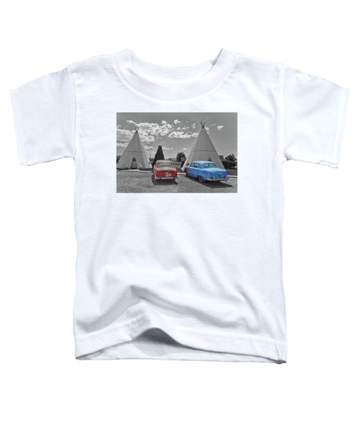Colored Cars And Tee Pee Motel--holbrook Toddler T-Shirt