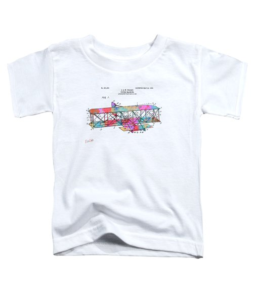 Colorful 1906 Wright Brothers Flying Machine Patent Toddler T-Shirt