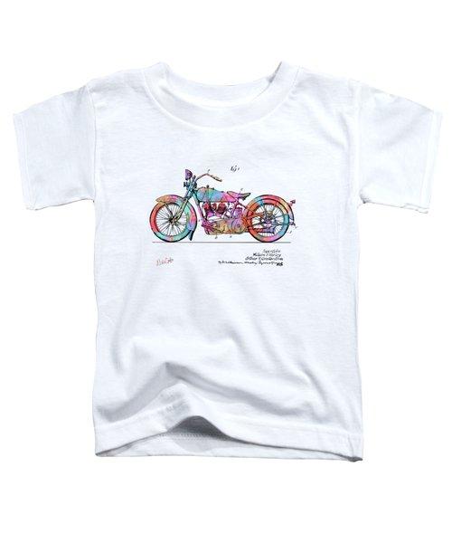 Colorful 1928 Harley Motorcycle Patent Artwork Toddler T-Shirt