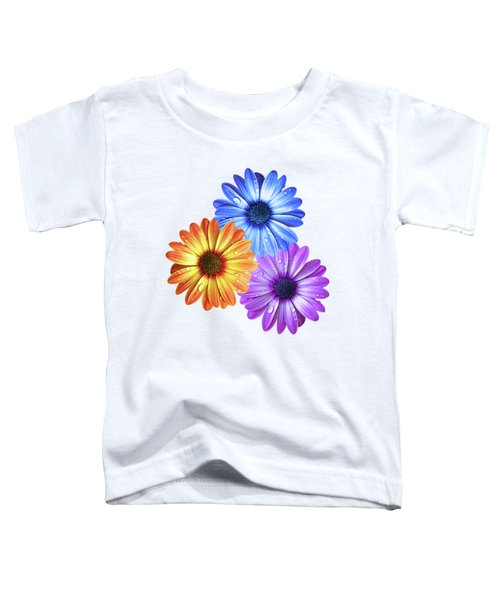 Colorful Daisies With Water Drops On White Toddler T-Shirt