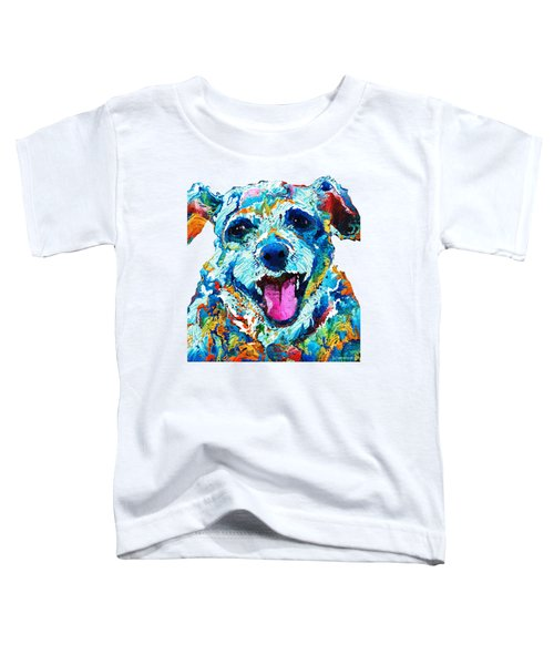 Colorful Dog Art - Smile - By Sharon Cummings Toddler T-Shirt by Sharon Cummings