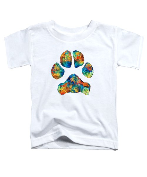 Colorful Dog Paw Print By Sharon Cummings Toddler T-Shirt by Sharon Cummings