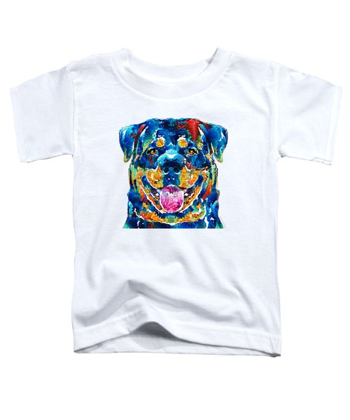 Colorful Rottie Art - Rottweiler By Sharon Cummings Toddler T-Shirt by Sharon Cummings