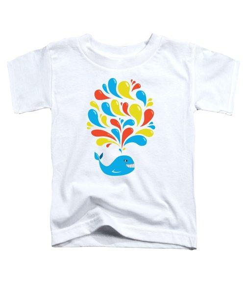 Colorful Swirls Happy Cartoon Whale Toddler T-Shirt by Boriana Giormova