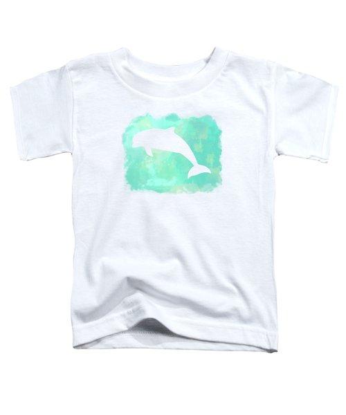 Colorful Watercolor Dolphin Sea Life Coastal Art Toddler T-Shirt