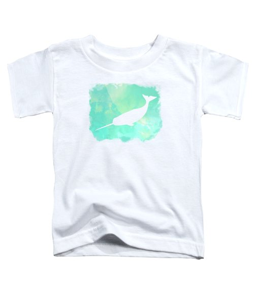 Colorful Watercolor Narwhal Sea Life Coastal Art Toddler T-Shirt