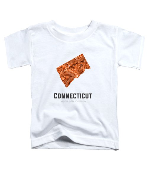Connecticut Map Art Abstract In Brown Toddler T-Shirt