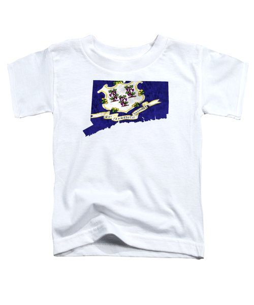Connecticut Map Art With Flag Design Toddler T-Shirt