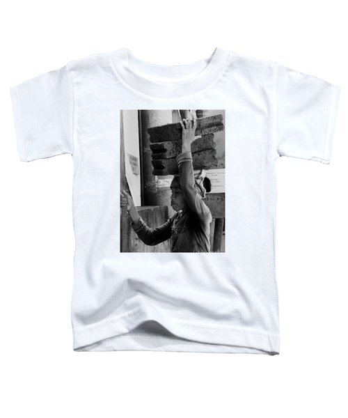 Toddler T-Shirt featuring the photograph Construction Labourer - Bw by Werner Padarin