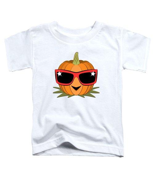 Cool Pumpkin Wearing Retro Nineties Sunglasses Toddler T-Shirt