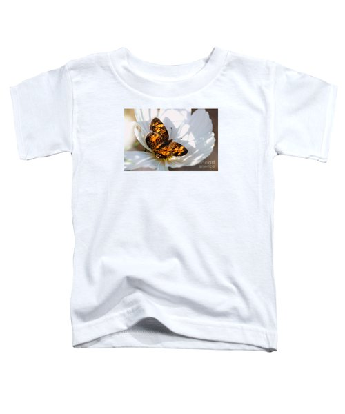 Pearl Crescent Butterfly On White Cosmo Flower Toddler T-Shirt