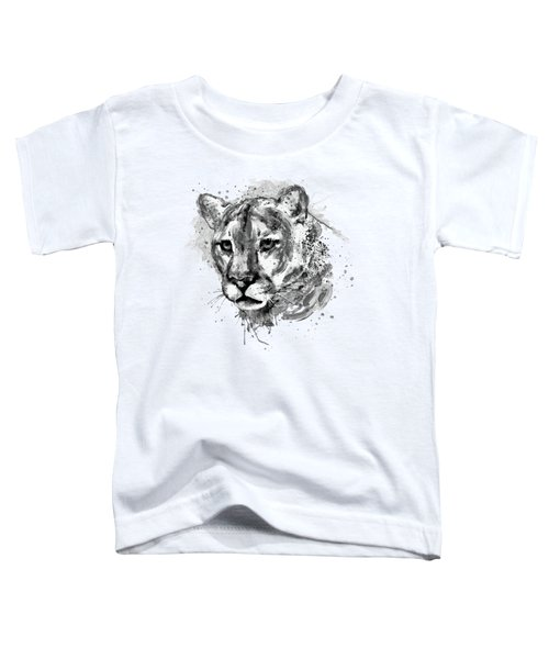 Cougar Head Black And White Toddler T-Shirt