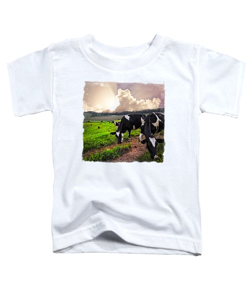 Cows At Sunset Bordered Toddler T-Shirt by Debra and Dave Vanderlaan