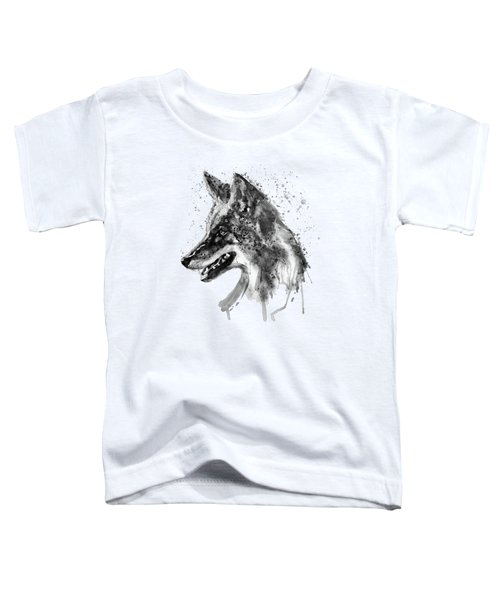Coyote Head Black And White Toddler T-Shirt