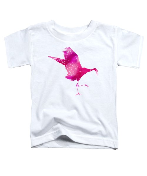 Crane Ready For Flight - Pink Watercolor Toddler T-Shirt by Custom Home Fashions