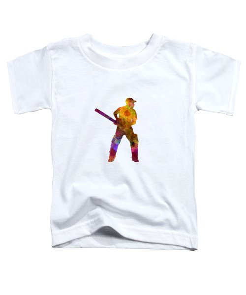 Cricket Player Batsman Silhouette 07 Toddler T-Shirt by Pablo Romero