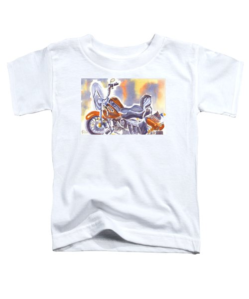 Crimson Motorcycle In Watercolor Toddler T-Shirt