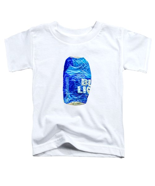 Crushed Blue Beer Can On Plywood 78 Color On Bw Toddler T-Shirt