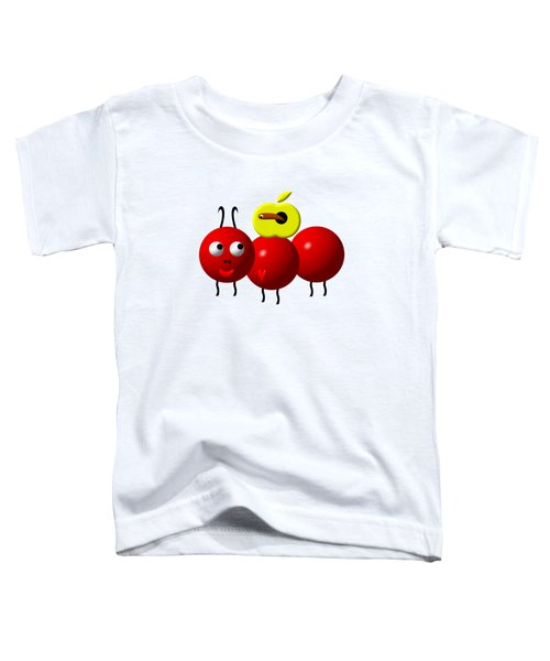 Cute Ant With An Apple Toddler T-Shirt by Rose Santuci-Sofranko