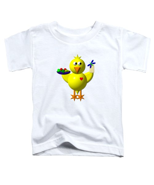 Cute Canary With Salad And Milk Toddler T-Shirt by Rose Santuci-Sofranko