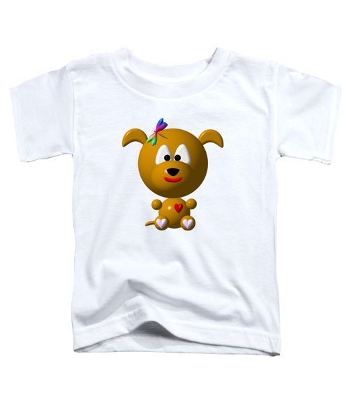 Cute Dog With Dragonfly Toddler T-Shirt