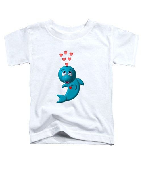 Cute Dolphin With Hearts Toddler T-Shirt