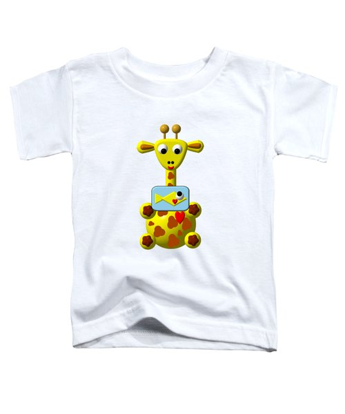 Cute Giraffe With Goldfish Toddler T-Shirt by Rose Santuci-Sofranko