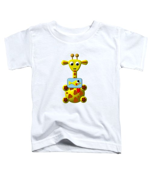 Cute Giraffe With Goldfish Toddler T-Shirt
