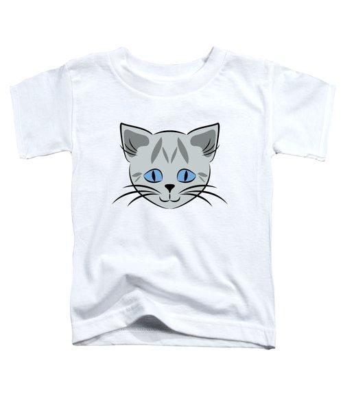 Cute Gray Tabby Cat Face Toddler T-Shirt