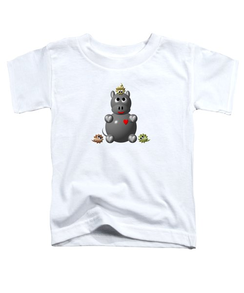 Cute Hippo With Hamsters Toddler T-Shirt by Rose Santuci-Sofranko