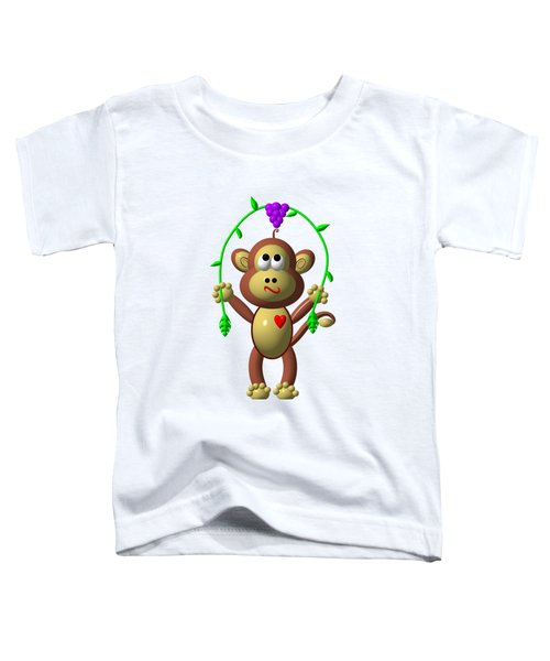 Cute Monkey Jumping Rope Toddler T-Shirt by Rose Santuci-Sofranko