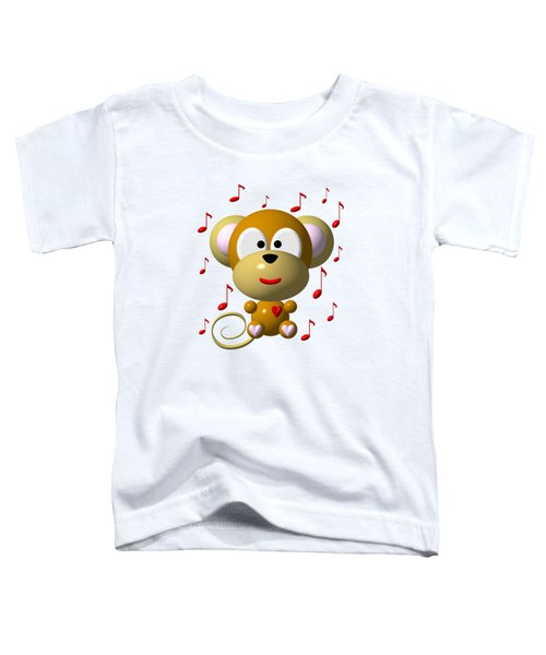 Cute Musical Monkey Toddler T-Shirt by Rose Santuci-Sofranko