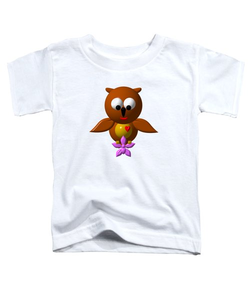 Cute Owl With Orchid Toddler T-Shirt