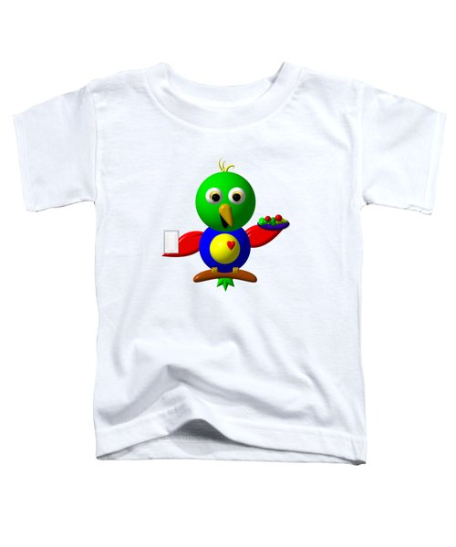 Cute Parrot With Healthy Salad And Milk Toddler T-Shirt