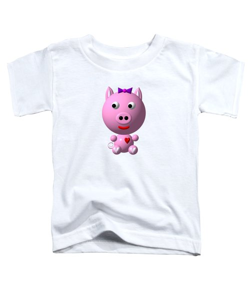 Cute Pink Pig With Purple Bow Toddler T-Shirt