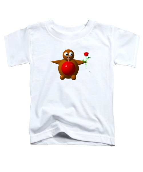 Cute Robin With Rose Toddler T-Shirt